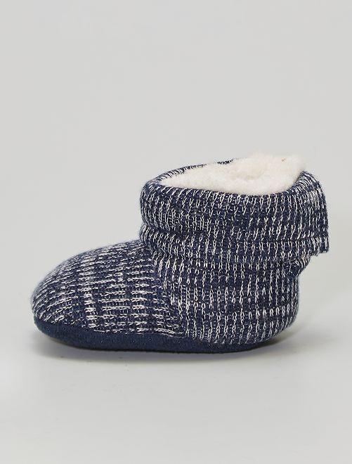 Boots chaussons fourrées en tricot                                         bleu