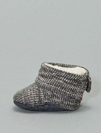 Boots chaussons fourrées en tricot