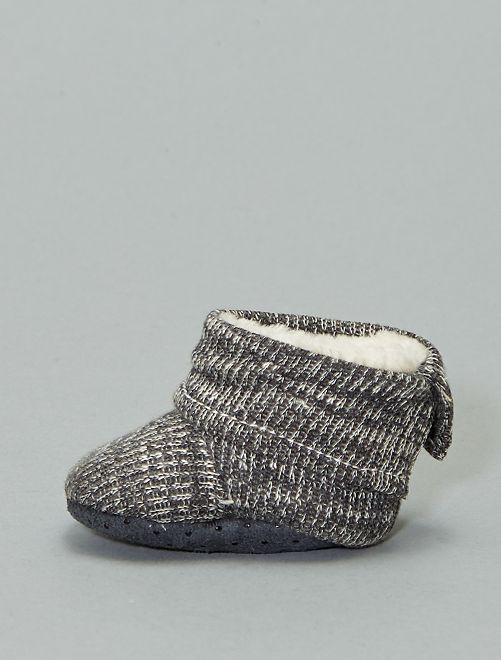 Boots chaussons fourrées en tricot                                         gris