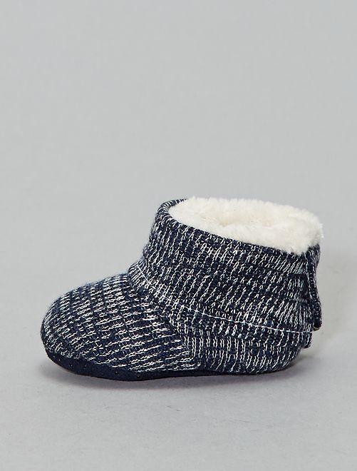 Boots chaussons fourrées en tricot                                         noir