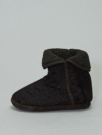 Boots chaussons fourrés en tricot