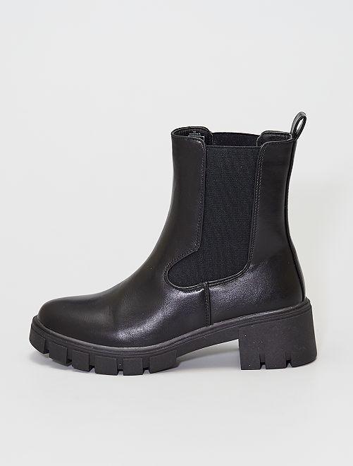 Boots Chelsea à semelle crantée                             noir