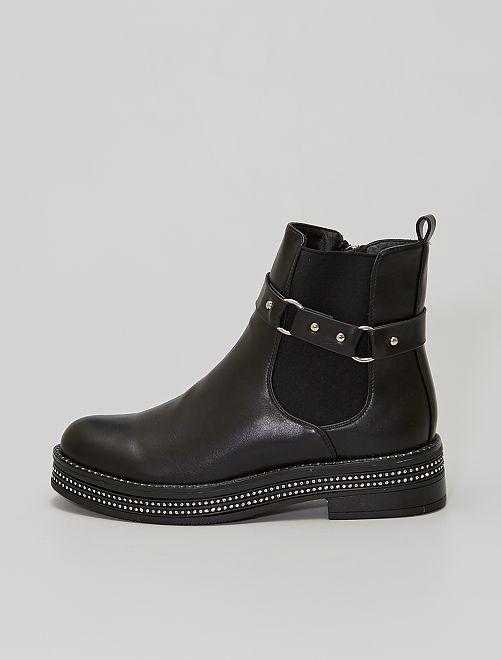 Boots 'Chelsea' à strass                             noir