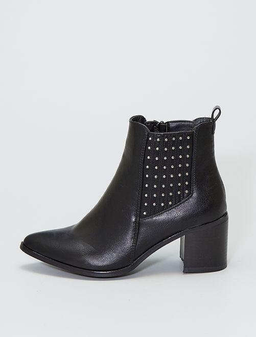 Boots 'Chelsea' à talons                             noir