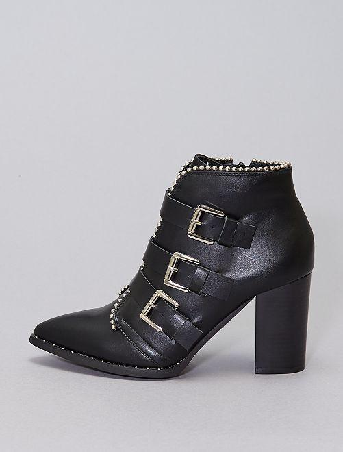 Boots cloutées à talons                             noir