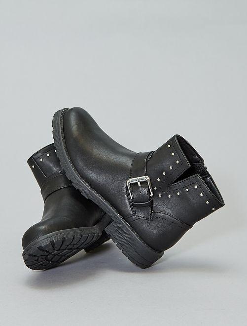 Boots cloutées en simili                             noir