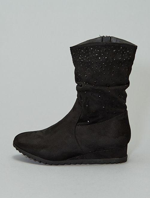 Boots compensées à strass                             noir