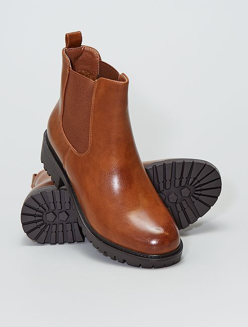 Boots crantées style chelsea                             camel