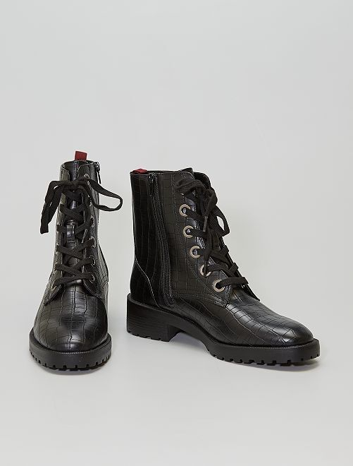 Boots 'croco'                             noir