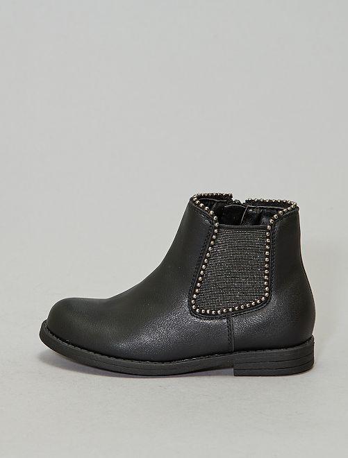 Boots élastiques brillants et clous                             noir