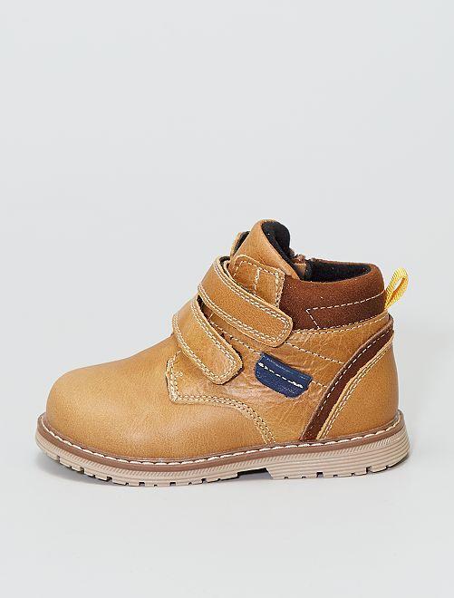 Boots en cuir  à scratch                             camel