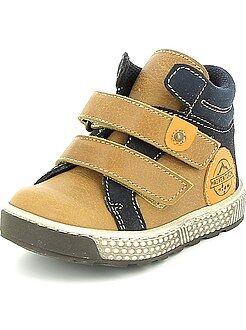 Garçon 3-12 ans - Boots en cuir à scratch - Kiabi