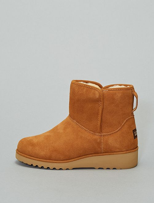 Boots en cuir fourrées                             marron