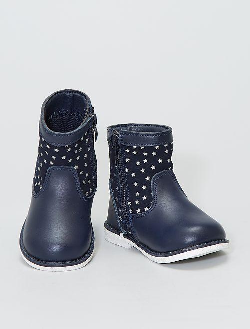 Boots en cuir imprimé 'étoiles'                             bleu navy