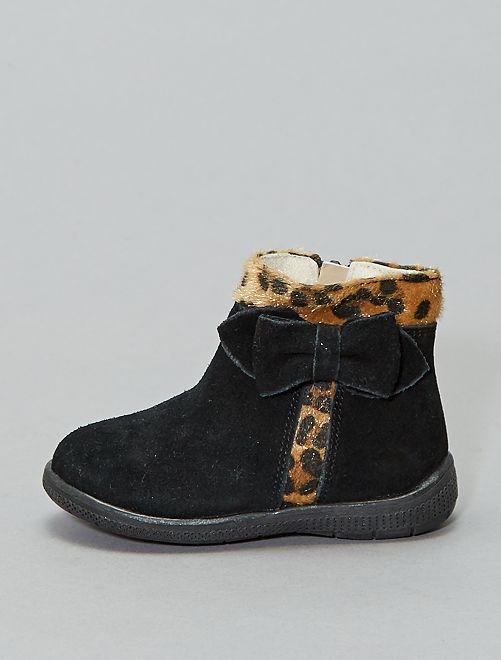 Boots en cuir 'léopard'                             noir