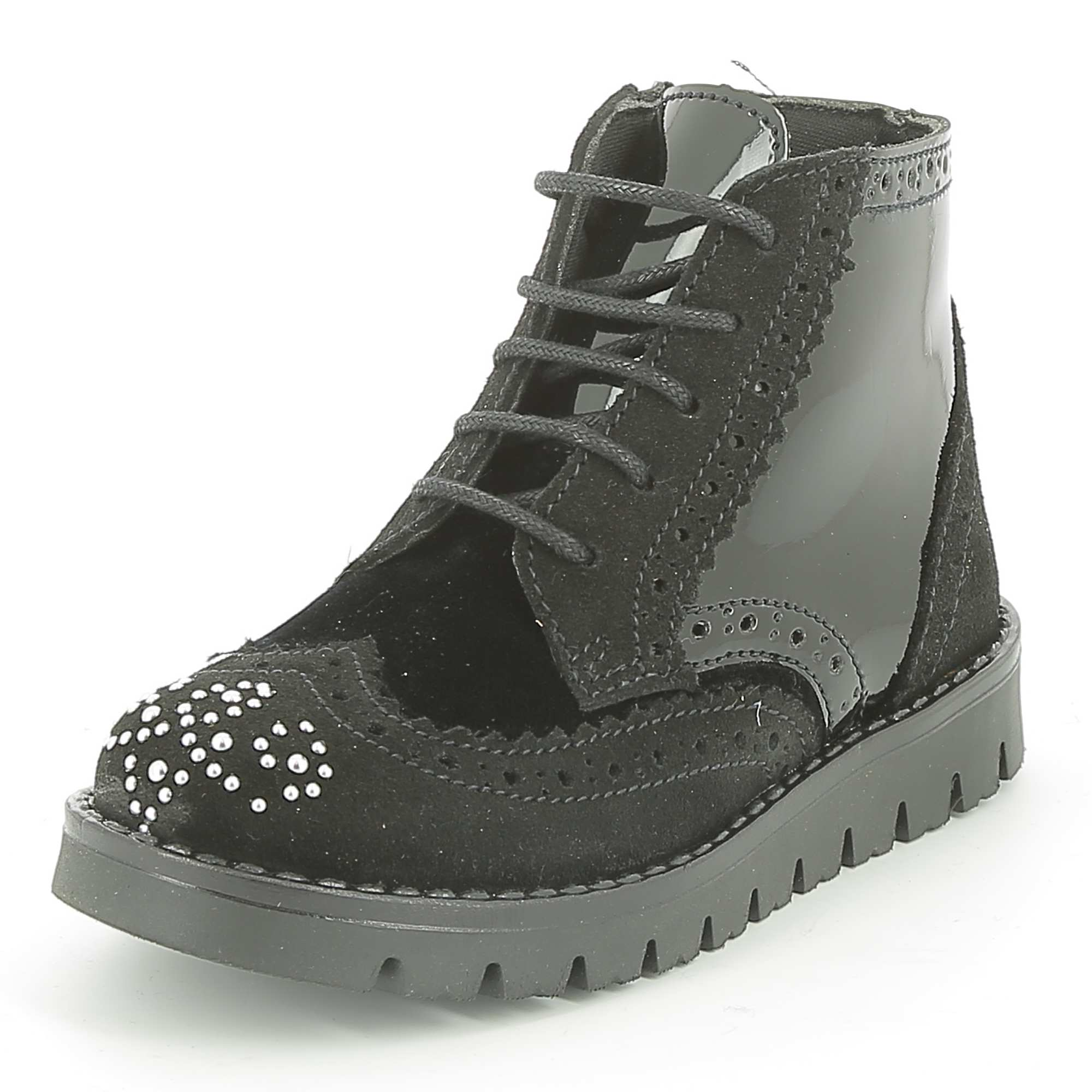 boots en cuir style richelieu fille noir kiabi 38 00. Black Bedroom Furniture Sets. Home Design Ideas