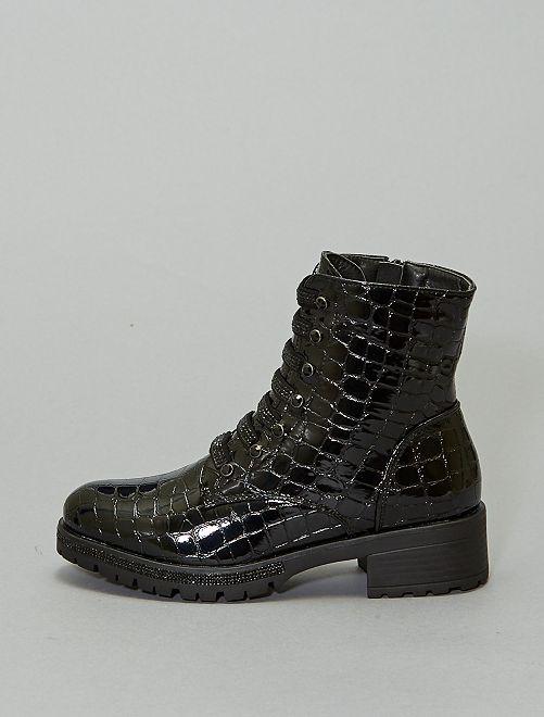 Boots en serpent vernies                             noir