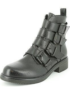 Boots, bottines - Boots en simili à brides - Kiabi