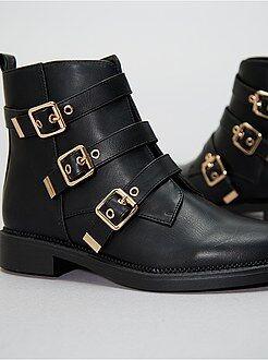 Boots en simili avec brides - Kiabi