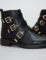 Boots en simili avec brides