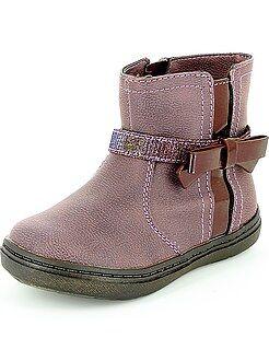 Boots en simili avec nœud fantaisie
