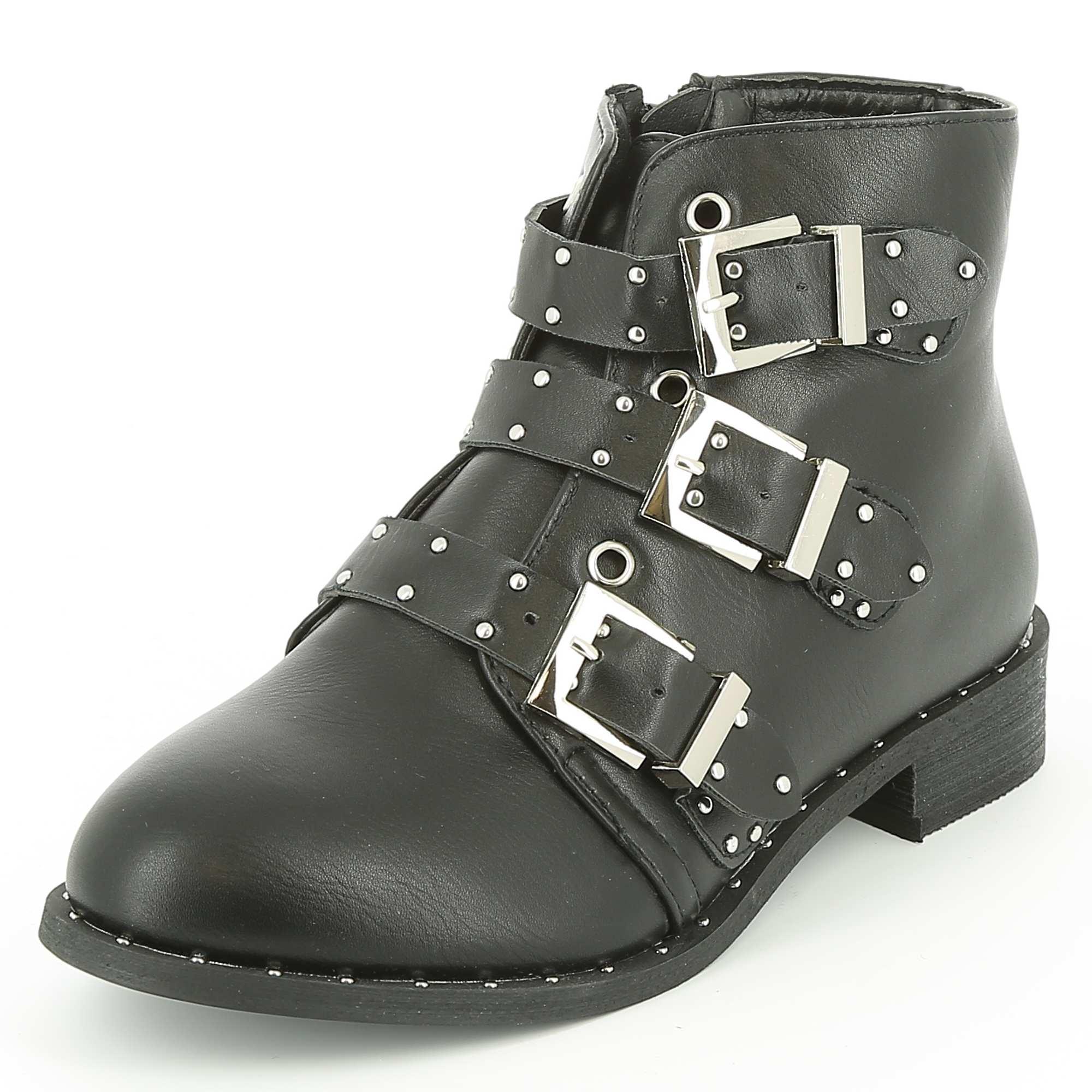 boots en simili clout es chaussures noir kiabi 28 00. Black Bedroom Furniture Sets. Home Design Ideas