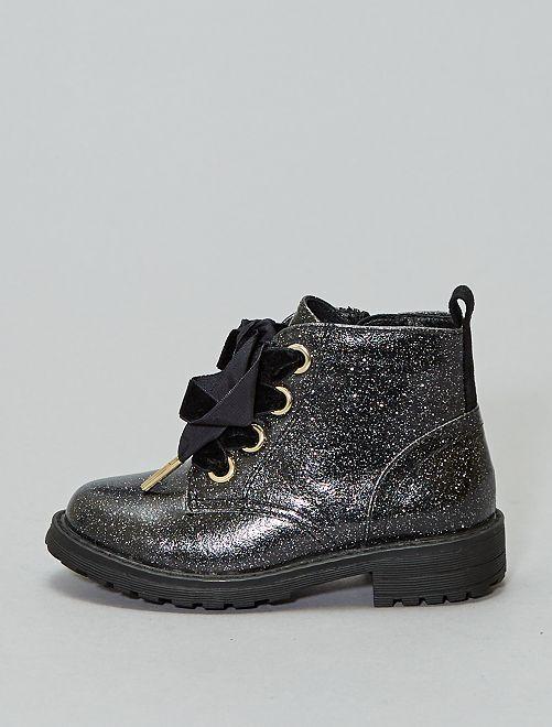 Boots en simili pailletées                             noir Chaussures