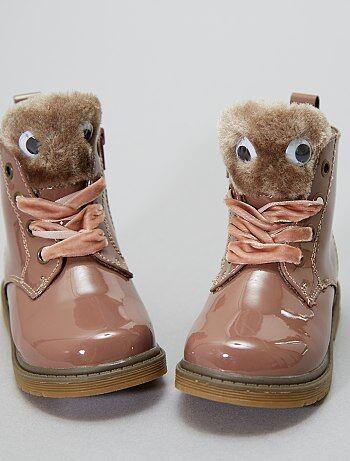 Chaussures - Boots en simili vernis fourrées - Kiabi