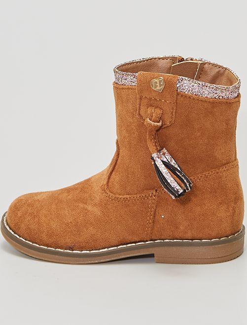 Boots en suédine à pompons                                         camel