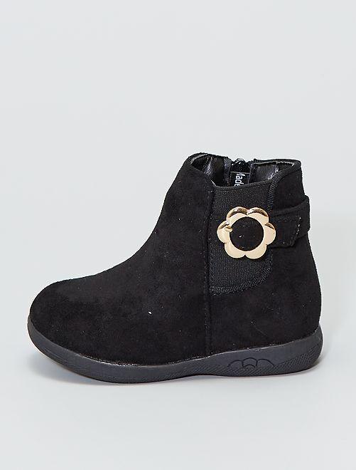 Boots en suédine avec boucle dorée 'fleur'                                         noir