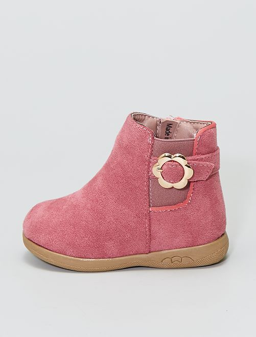 Boots en suédine avec boucle dorée 'fleur'                                         rose