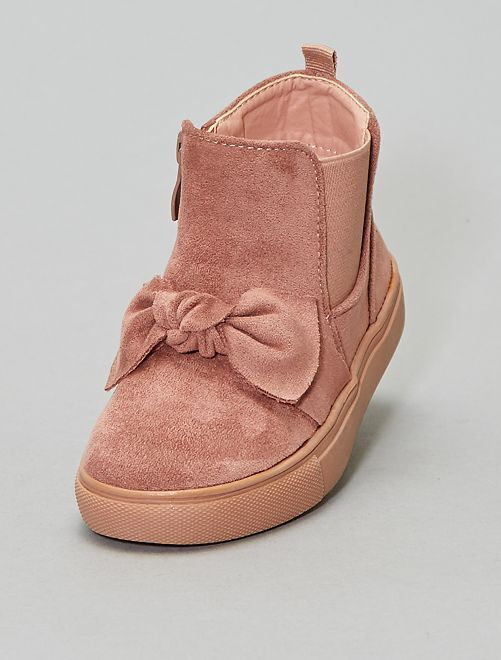 Boots en suédine avec nœud                             rose Chaussures