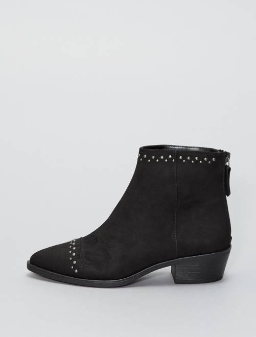 Boots en suédine avec rivets                     noir Femme