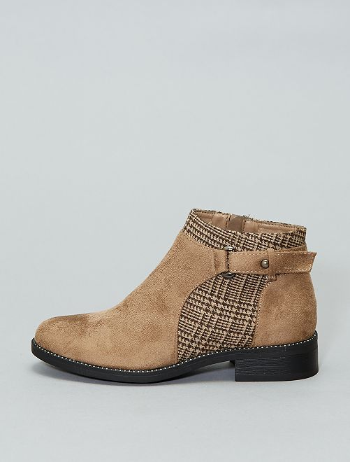 Boots en suédine et motif pied de poule                                         marron Chaussures