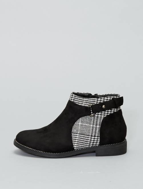 Boots en suédine et motif pied de poule                     noir