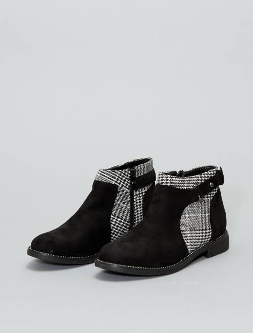 boots en su dine et motif pied de poule chaussures. Black Bedroom Furniture Sets. Home Design Ideas
