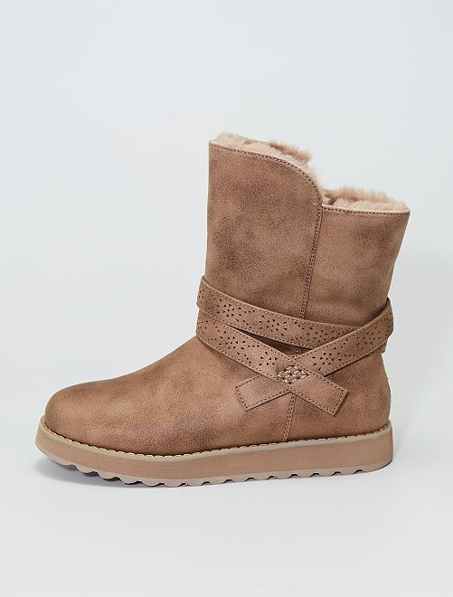 Boots en suédine fourrées doux                             beige