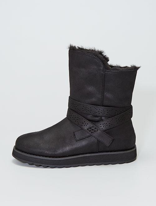Boots en suédine fourrées doux                                         noir