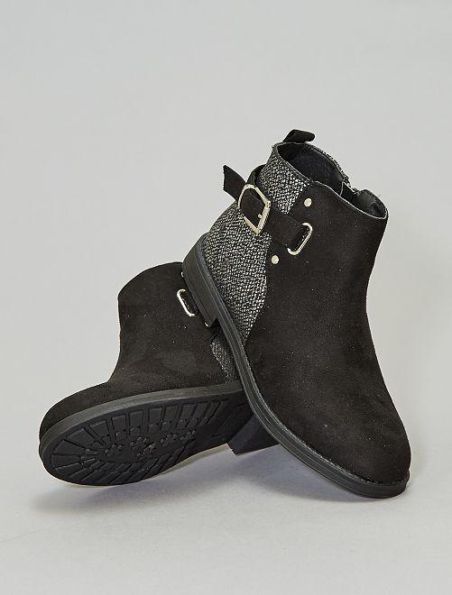 Boots en suédine imprimé 'serpent'                             noir