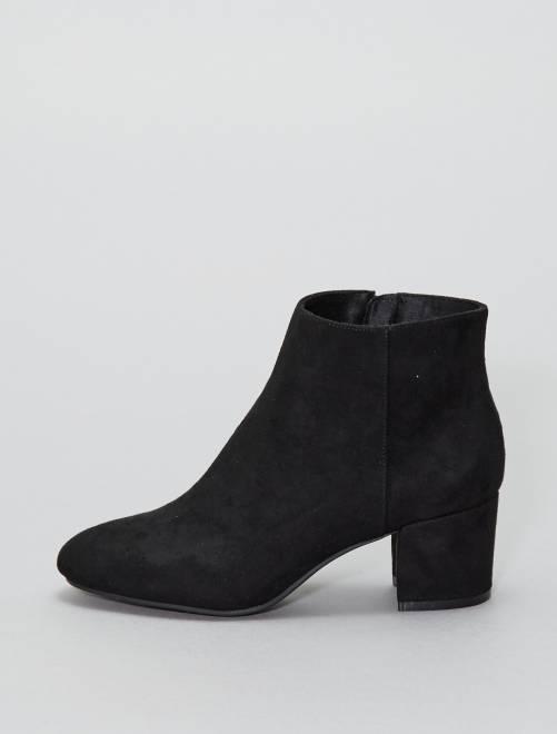Boots en suédine noir Femme