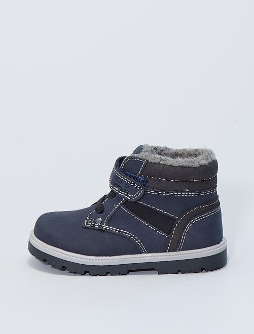 Boots fourées à lacets et scratch                             bleu navy