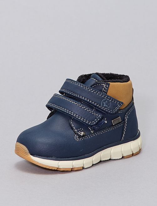 Boots fourrées à scratchs                             bleu navy