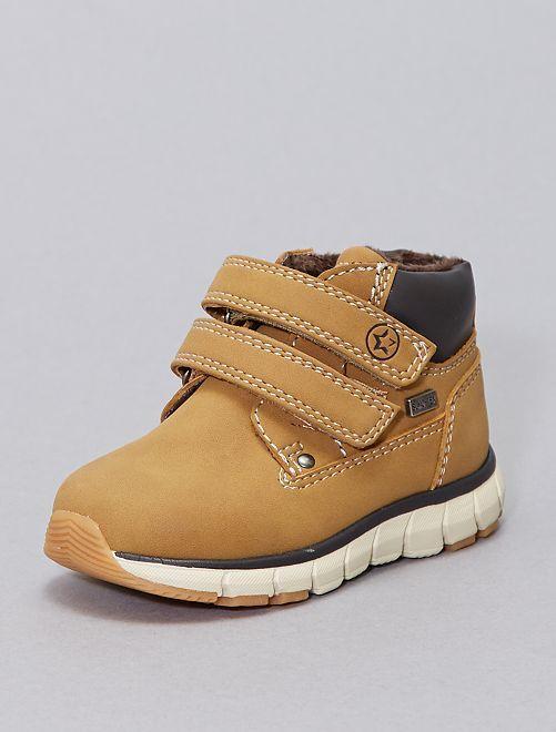 Boots fourrées à scratchs                             camel