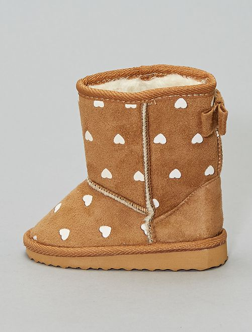 Boots fourrées 'cœur '                             camel Fille