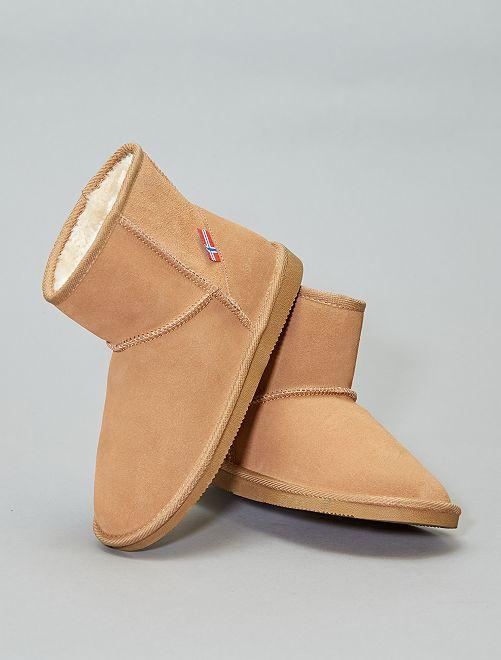 Boots fourrées en cuir                                         camel