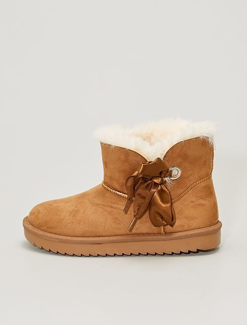 Boots fourrées en suédine                                         camel