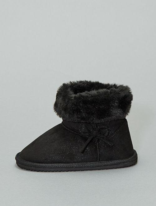 Boots fourrées en suédine                                                     noir