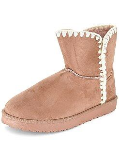 Boots, bottines - Boots fourrées en suédine - Kiabi