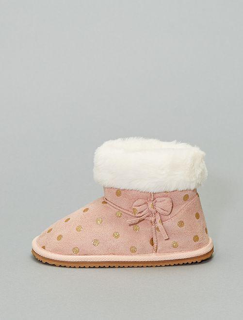 Boots fourrées en suédine                     rose pois
