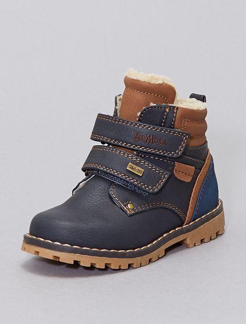 Boots fourrées façon sherpa                             bleu navy